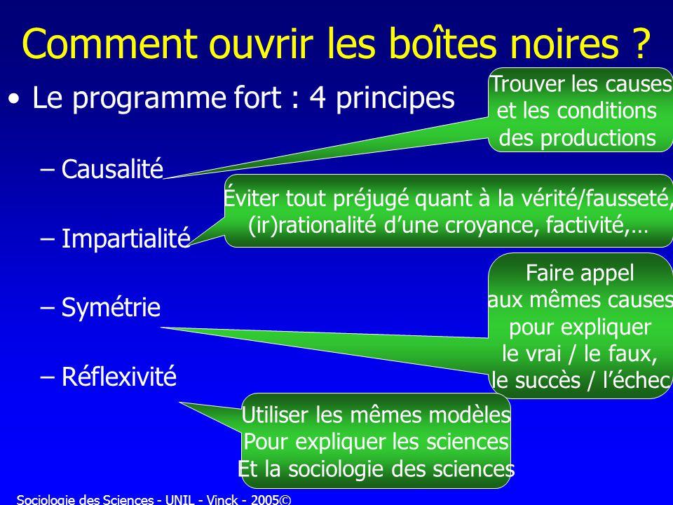 Sociologie des Sciences - UNIL - Vinck - 2005© Comment ouvrir les boîtes noires ? Le programme fort : 4 principes –Causalité –Impartialité –Symétrie –