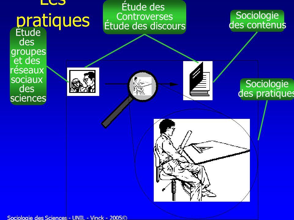 Sociologie des Sciences - UNIL - Vinck - 2005© Les pratiques Étude des groupes et des réseaux sociaux des sciences Étude des Controverses Étude des di