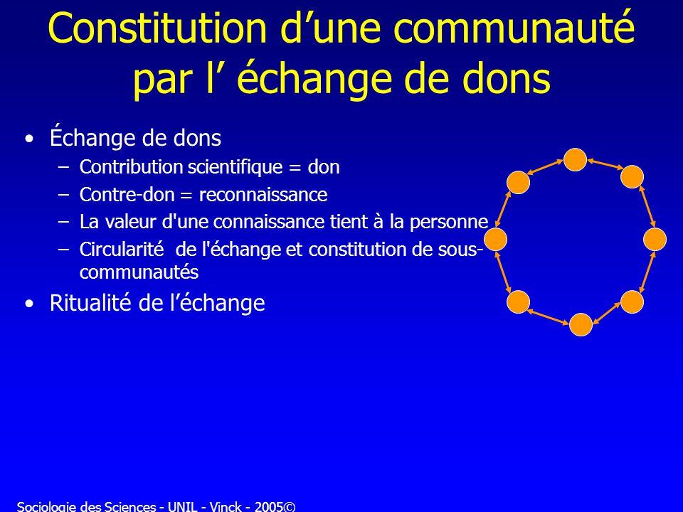 Sociologie des Sciences - UNIL - Vinck - 2005© Regards sociologiques sur les sciences (2) Quelle société constitue la science .