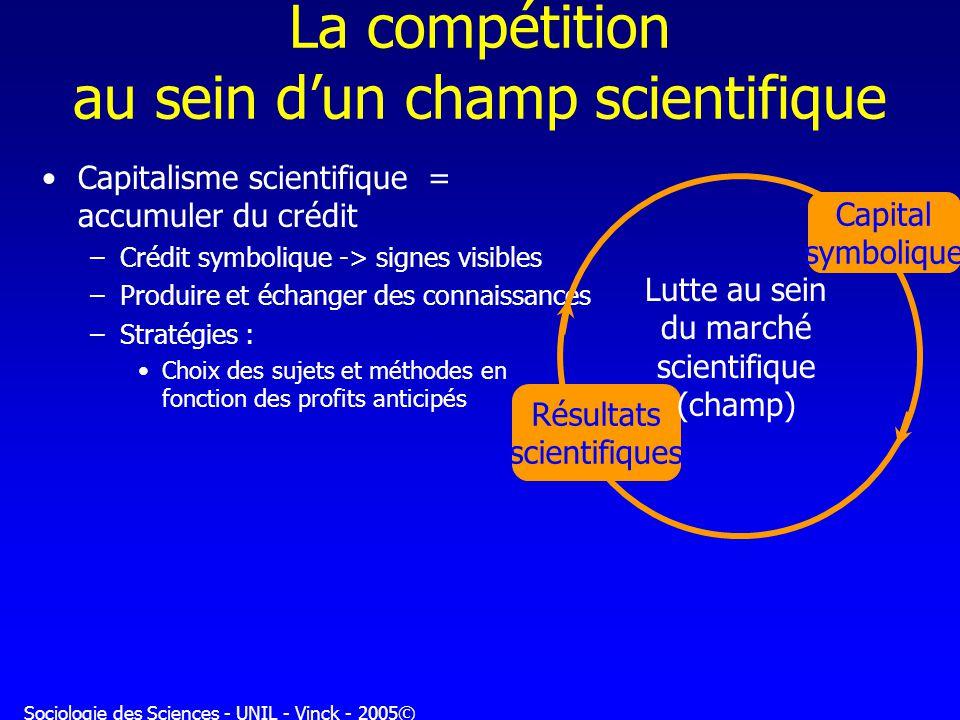 Sociologie des Sciences - UNIL - Vinck - 2005© La compétition au sein dun champ scientifique Capitalisme scientifique = accumuler du crédit –Crédit sy