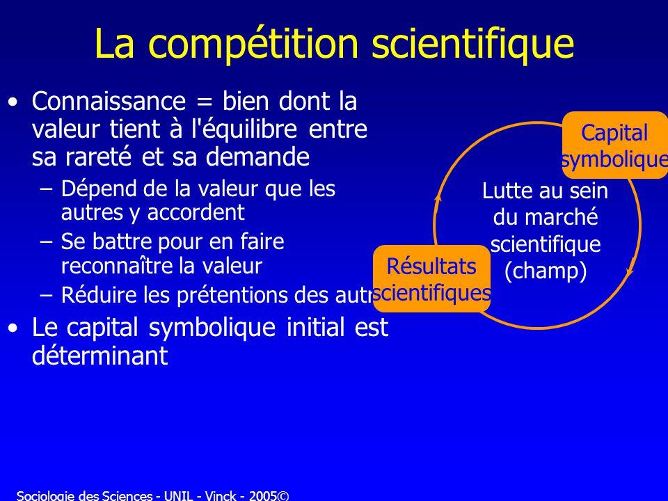 Sociologie des Sciences - UNIL - Vinck - 2005© La compétition scientifique Connaissance = bien dont la valeur tient à l'équilibre entre sa rareté et s