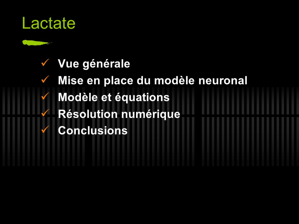 Lactate Vue générale Mise en place du modèle neuronal Modèle et équations Résolution numérique Conclusions