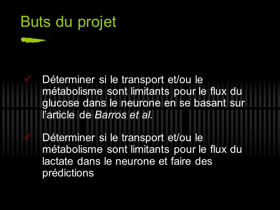 Buts du projet Déterminer si le transport et/ou le métabolisme sont limitants pour le flux du glucose dans le neurone en se basant sur larticle de Bar