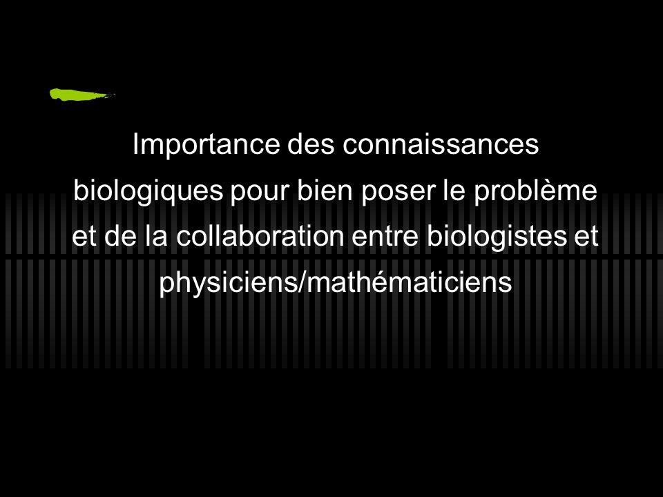Importance des connaissances biologiques pour bien poser le problème et de la collaboration entre biologistes et physiciens/mathématiciens