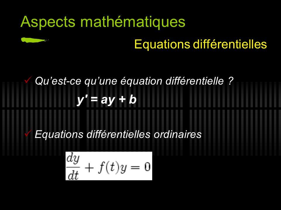 Exemple: production dune protéine : dP/dt = a*P analytique numérique P(t) = Po * e at pas de formule Aspects mathématiques Résolution analytique ou numérique.