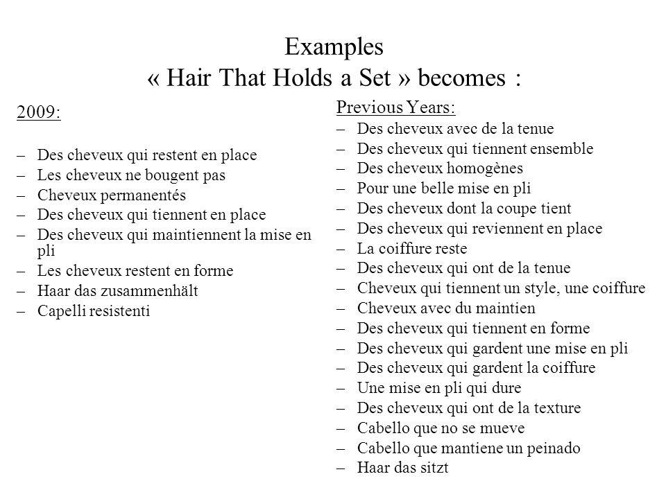 Examples « Hair That Holds a Set » becomes : 2009: –Des cheveux qui restent en place –Les cheveux ne bougent pas –Cheveux permanentés –Des cheveux qui