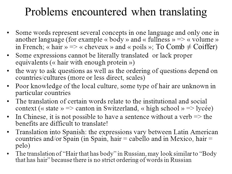 Examples Translations can vary from one group to the other.