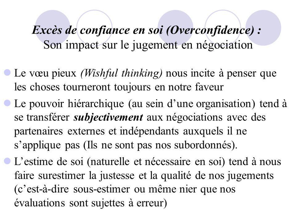 Excès de confiance en soi (Overconfidence) : Son impact sur le jugement en négociation Le vœu pieux (Wishful thinking) nous incite à penser que les ch