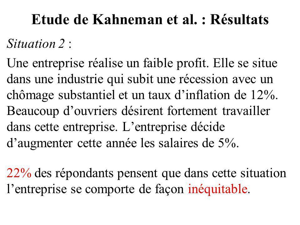 Situation 2 : Une entreprise réalise un faible profit. Elle se situe dans une industrie qui subit une récession avec un chômage substantiel et un taux