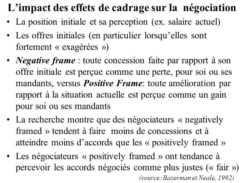 Limpact des effets de cadrage sur la négociation La position initiale et sa perception (ex. salaire actuel) Les offres initiales (en particulier lorsq