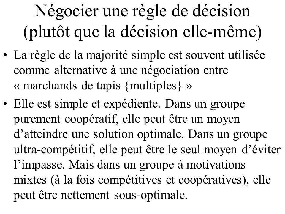 Négocier une règle de décision (plutôt que la décision elle-même) La règle de la majorité simple est souvent utilisée comme alternative à une négociat