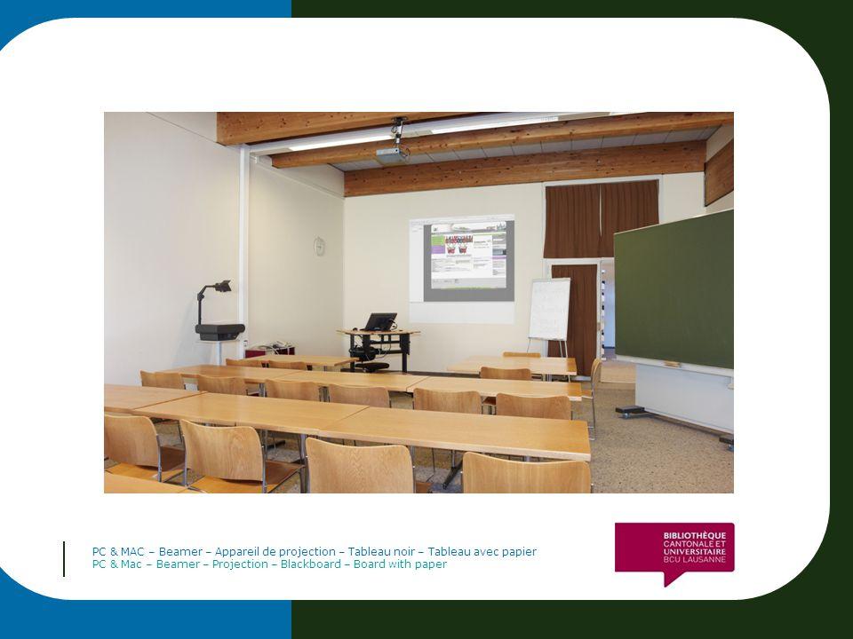 PC & MAC – Beamer – Appareil de projection – Tableau noir – Tableau avec papier PC & Mac – Beamer – Projection – Blackboard – Board with paper