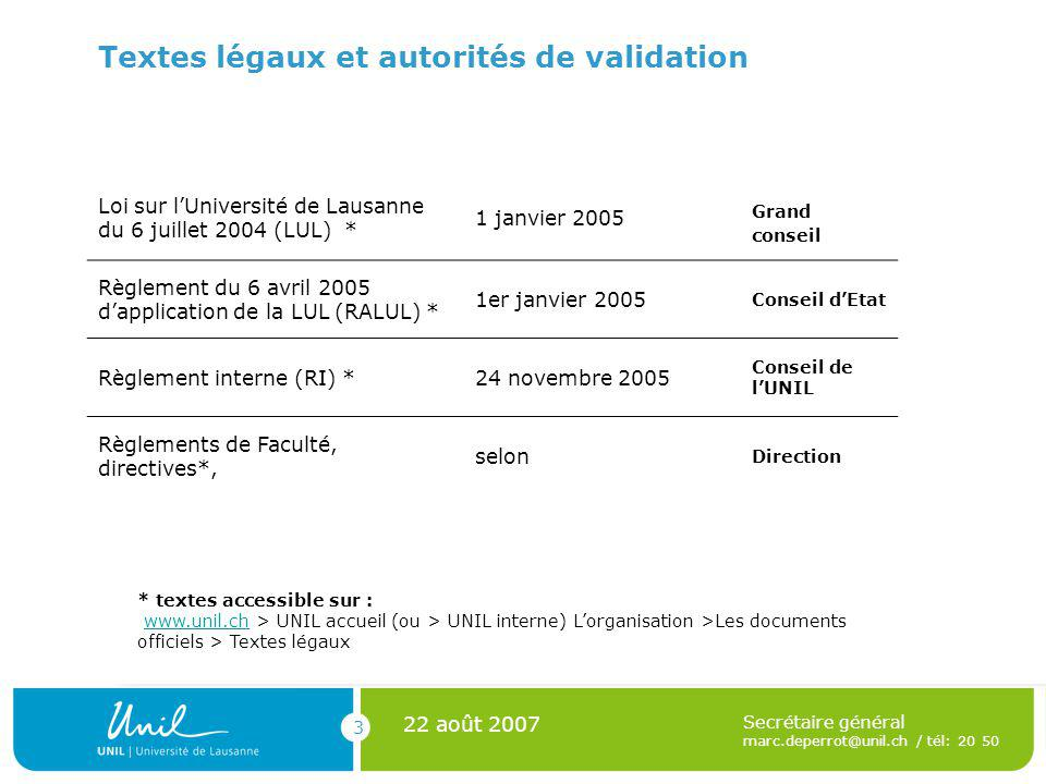 3 22 août 2007 Secrétaire général marc.deperrot@unil.ch / tél: 20 50 Textes légaux et autorités de validation Loi sur lUniversité de Lausanne du 6 juillet 2004 (LUL) * 1 janvier 2005 Grand conseil Règlement du 6 avril 2005 dapplication de la LUL (RALUL) * 1er janvier 2005 Conseil dEtat Règlement interne (RI) *24 novembre 2005 Conseil de lUNIL Règlements de Faculté, directives*, selon Direction * textes accessible sur : www.unil.ch > UNIL accueil (ou > UNIL interne) Lorganisation >Les documents officiels > Textes légauxwww.unil.ch