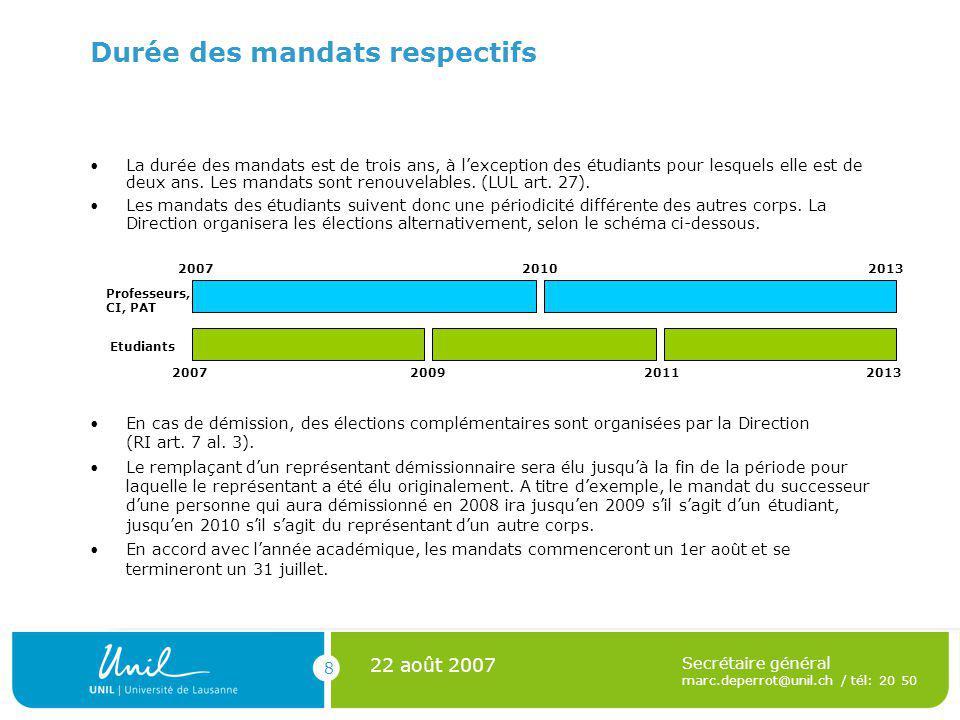 8 22 août 2007 Secrétaire général marc.deperrot@unil.ch / tél: 20 50 Durée des mandats respectifs En cas de démission, des élections complémentaires sont organisées par la Direction (RI art.