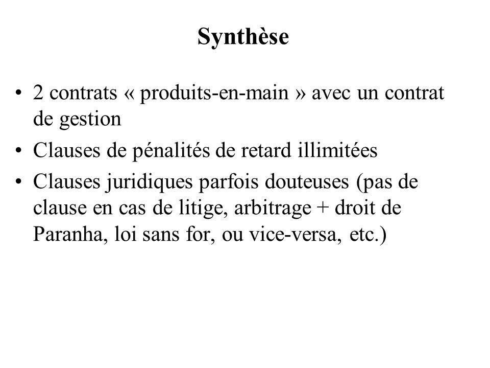Synthèse 2 contrats « produits-en-main » avec un contrat de gestion Clauses de pénalités de retard illimitées Clauses juridiques parfois douteuses (pa