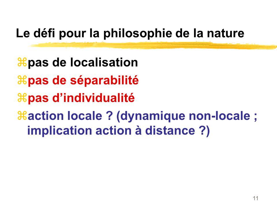 11 Le défi pour la philosophie de la nature pas de localisation pas de séparabilité pas dindividualité action locale .