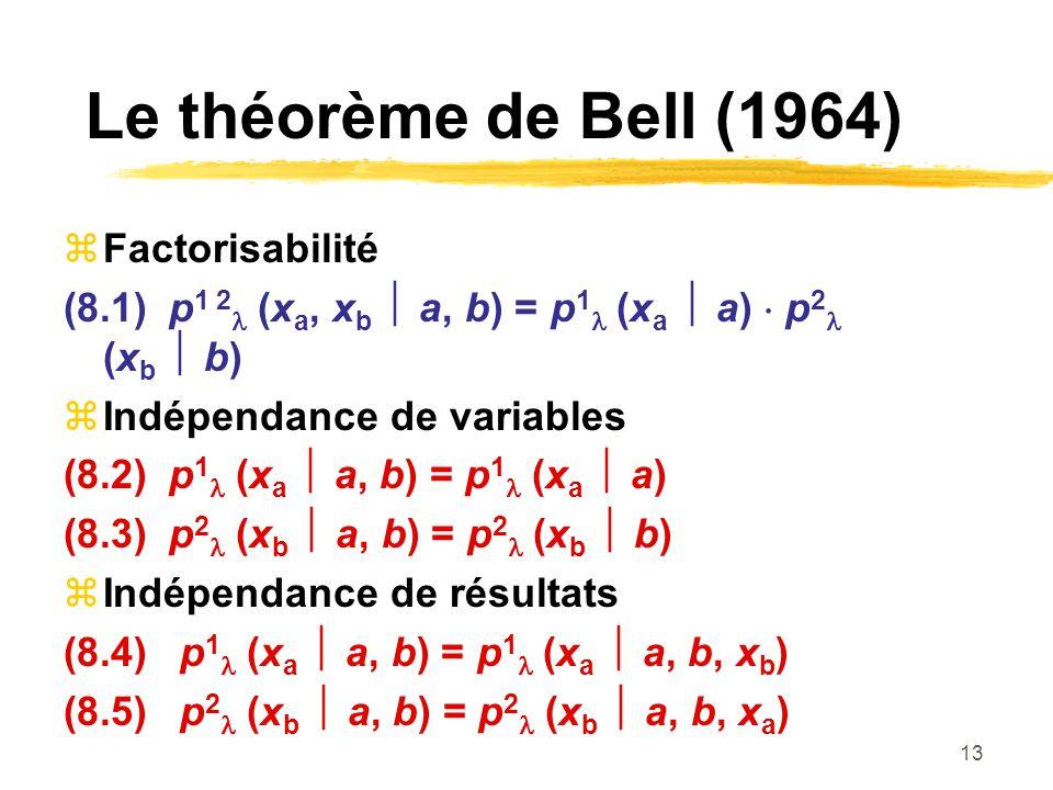 13 Le théorème de Bell (1964) Factorisabilité (8.1)p 1 2 (x a, x b a, b) = p 1 (x a a) p 2 (x b b) Indépendance de variables (8.2)p 1 (x a a, b) = p 1 (x a a) (8.3)p 2 (x b a, b) = p 2 (x b b) Indépendance de résultats (8.4) p 1 (x a a, b) = p 1 (x a a, b, x b ) (8.5) p 2 (x b a, b) = p 2 (x b a, b, x a )