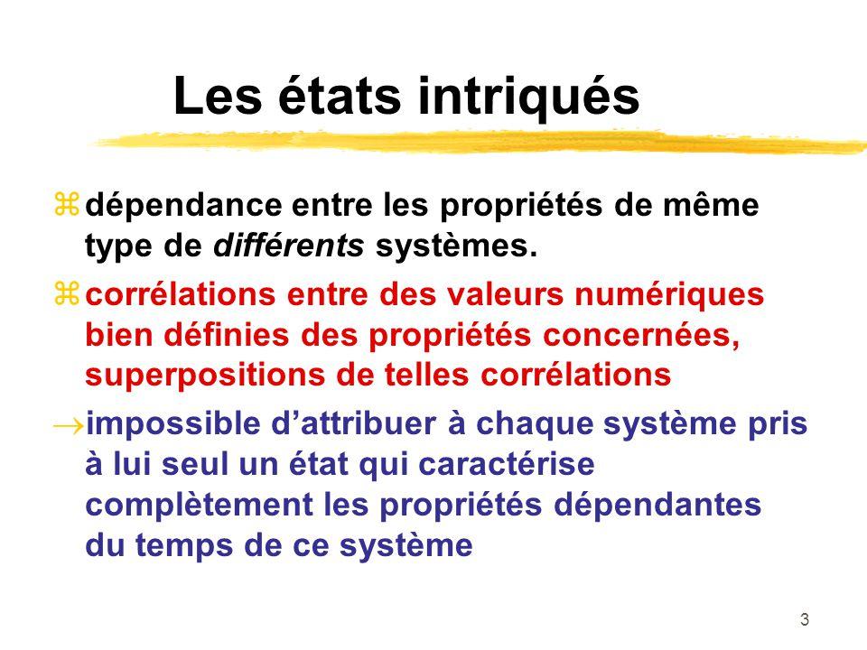 3 Les états intriqués dépendance entre les propriétés de même type de différents systèmes.