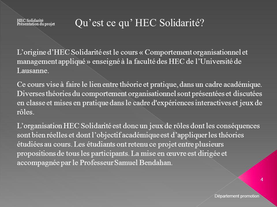 Quest ce qu HEC Solidarité? Lorigine dHEC Solidarité est le cours « Comportement organisationnel et management appliqué » enseigné à la faculté des HE