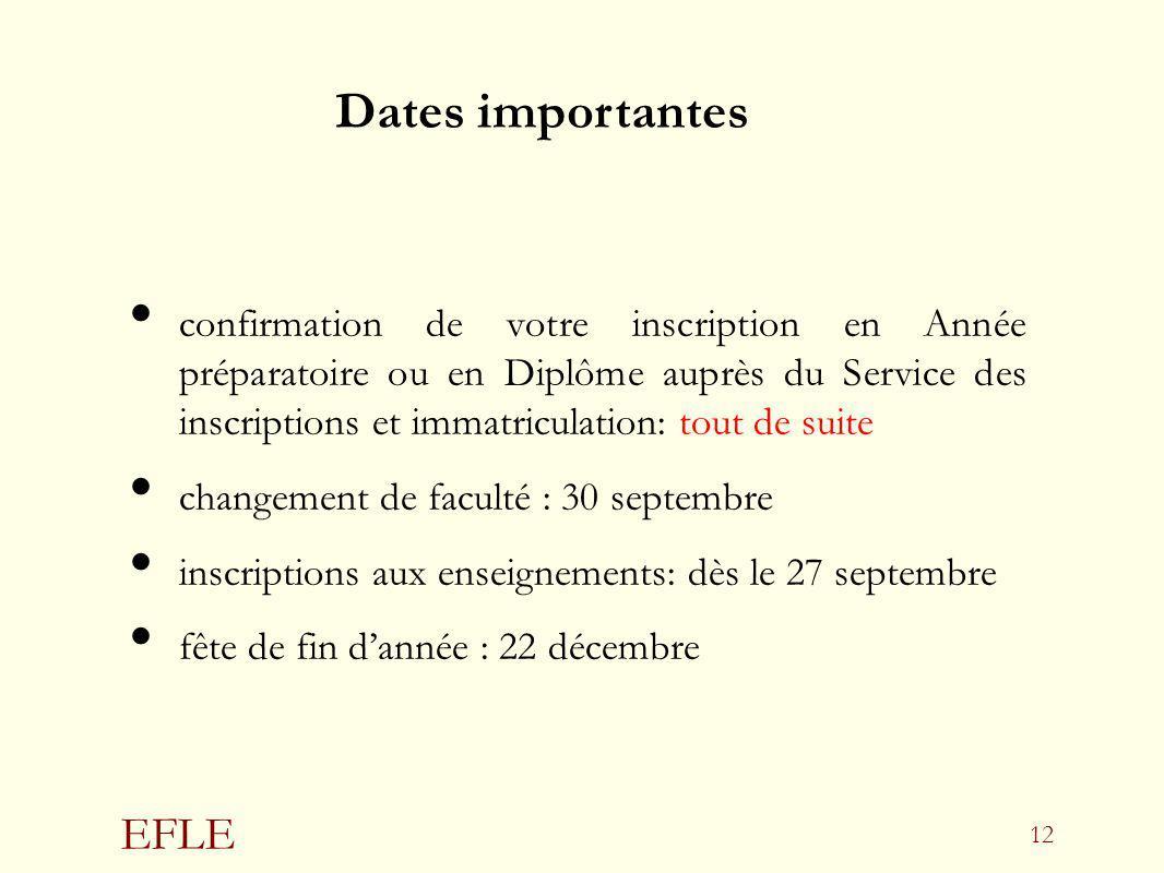 EFLE 12 confirmation de votre inscription en Année préparatoire ou en Diplôme auprès du Service des inscriptions et immatriculation: tout de suite cha