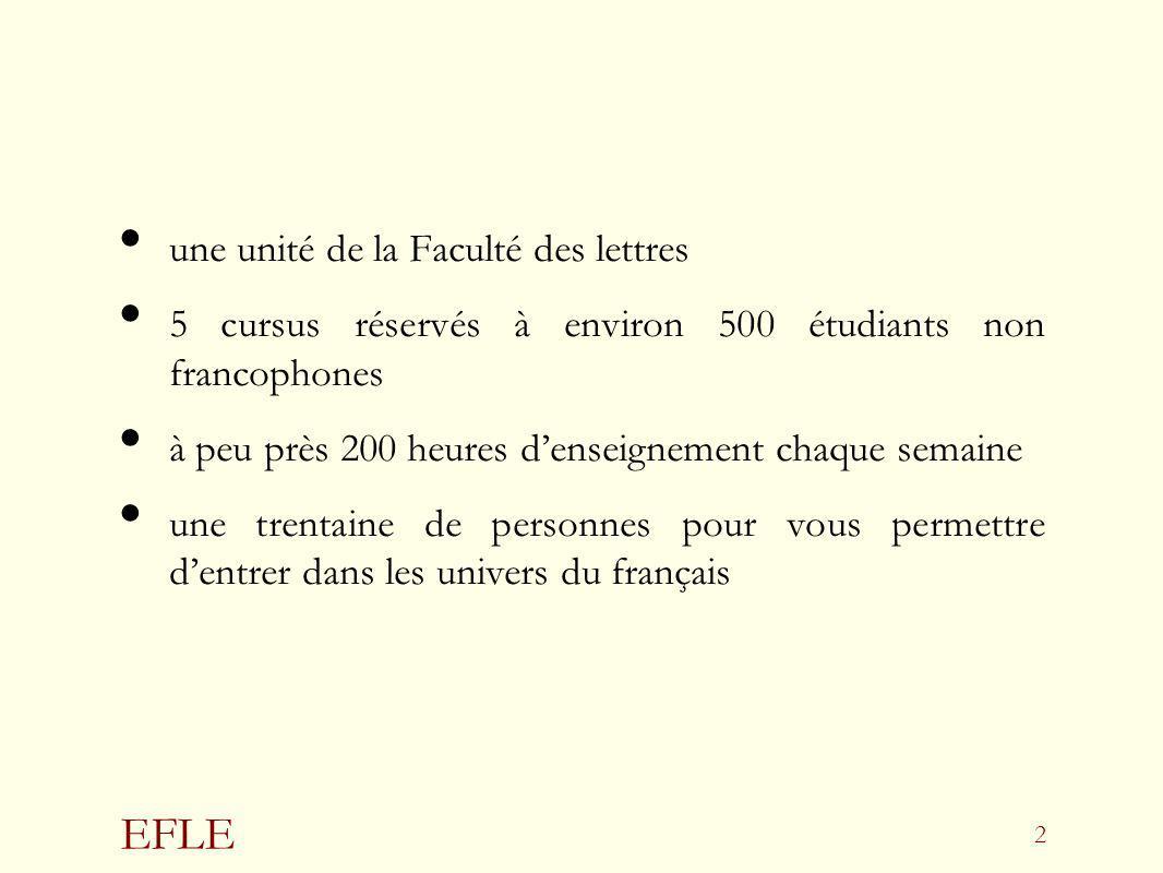 EFLE 2 une unité de la Faculté des lettres 5 cursus réservés à environ 500 étudiants non francophones à peu près 200 heures denseignement chaque semai