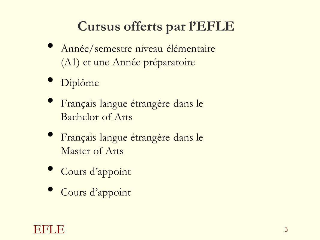 EFLE 3 Cursus offerts par lEFLE Année/semestre niveau élémentaire (A1) et une Année préparatoire Diplôme Français langue étrangère dans le Bachelor of