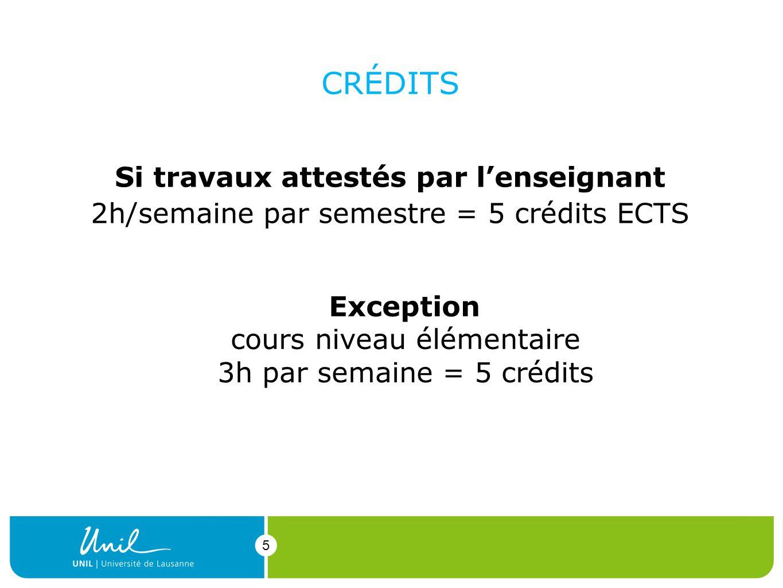5 CRÉDITS Si travaux attestés par lenseignant 2h/semaine par semestre = 5 crédits ECTS 5 Exception cours niveau élémentaire 3h par semaine = 5 crédits