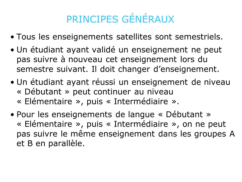 PRINCIPES GÉNÉRAUX Tous les enseignements satellites sont semestriels. Un étudiant ayant validé un enseignement ne peut pas suivre à nouveau cet ensei