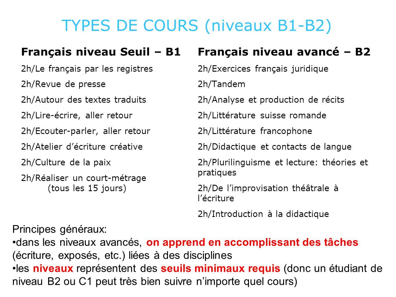 TYPES DE COURS (niveaux B1-B2) Français niveau Seuil – B1 2h/Le français par les registres 2h/Revue de presse 2h/Autour des textes traduits 2h/Lire-éc