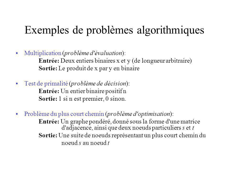 Exemples de problèmes algorithmiques Multiplication (problème d évaluation): Entrée: Deux entiers binaires x et y (de longueur arbitraire) Sortie: Le produit de x par y en binaire Test de primalité (problème de décision): Entrée: Un entier binaire positif n Sortie: 1 si n est premier, 0 sinon.