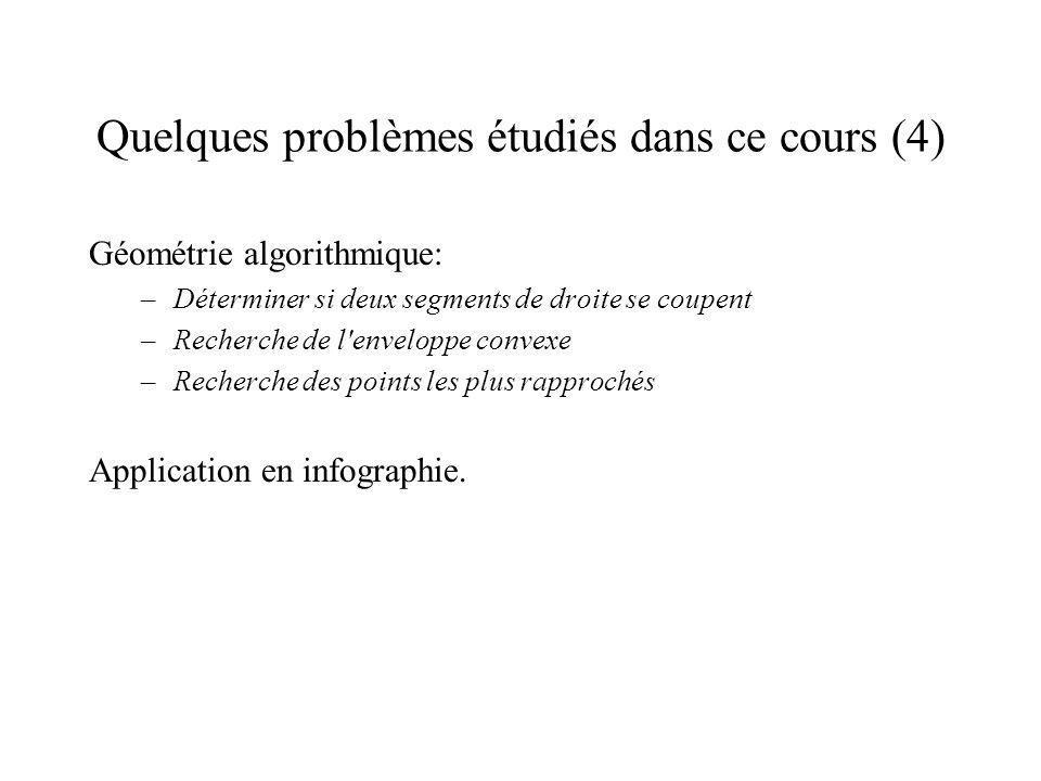 Quelques problèmes étudiés dans ce cours (4) Géométrie algorithmique: –Déterminer si deux segments de droite se coupent –Recherche de l enveloppe convexe –Recherche des points les plus rapprochés Application en infographie.