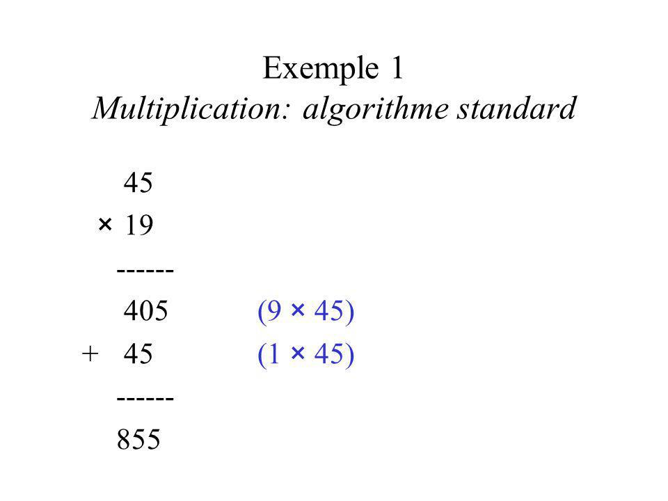 Exemple 1 Multiplication: algorithme standard 45 ×19 ------ 405(9 × 45) +45(1 × 45) ------ 855