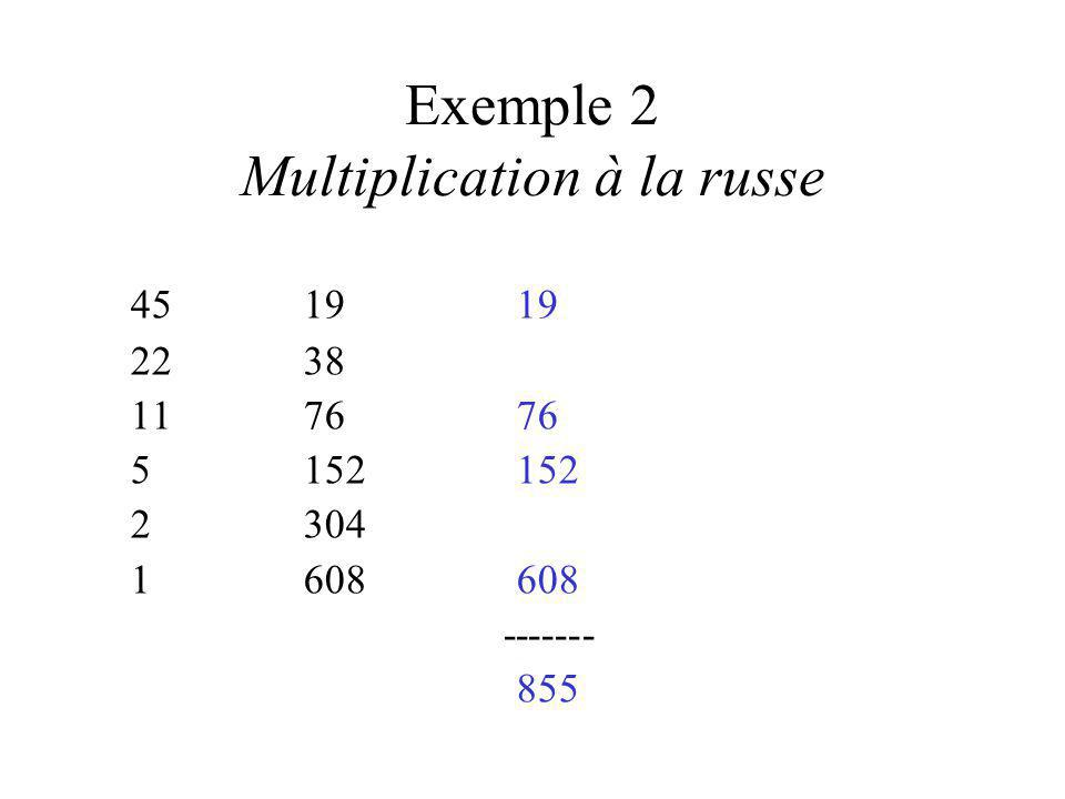 Exemple 2 Multiplication à la russe 451919 2238 117676 5152152 2304 1608608 ------- 855