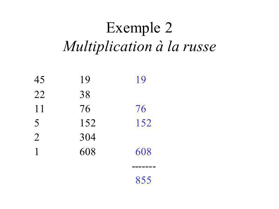 Exemple 2 (suite) Multiplication à la russe 19 4545 990 90 4180 2360 1720720 ------- 855