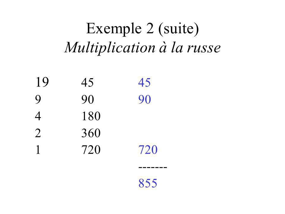 Exemple 2 (suite) Multiplication à la russe 19 4545 990 90 4180 2360 1720720 ------- 855