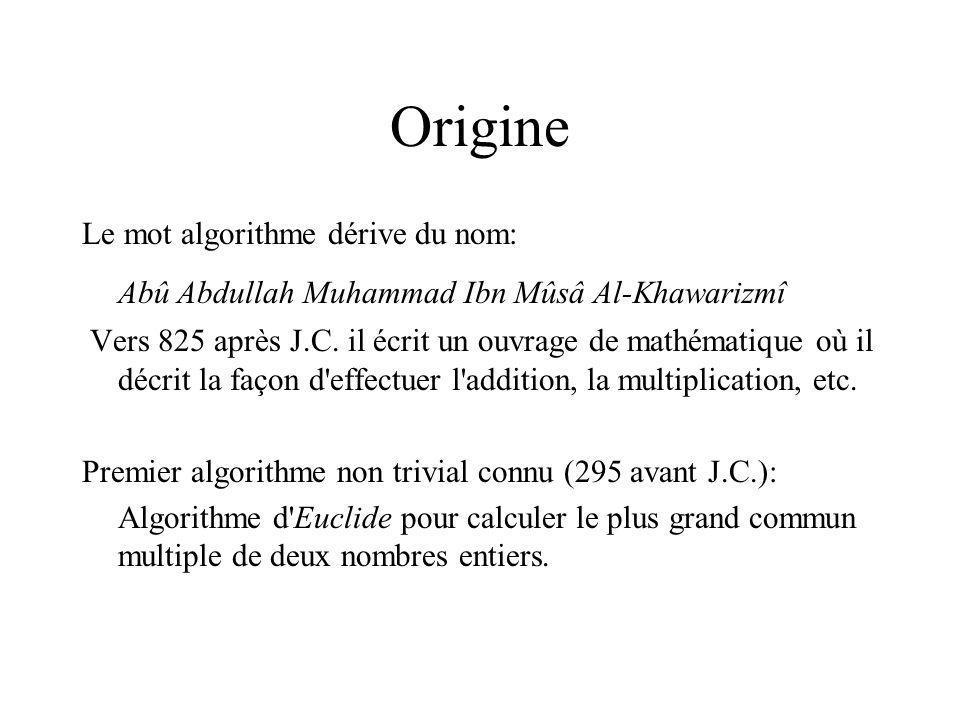 Origine Le mot algorithme dérive du nom: Abû Abdullah Muhammad Ibn Mûsâ Al-Khawarizmî Vers 825 après J.C.
