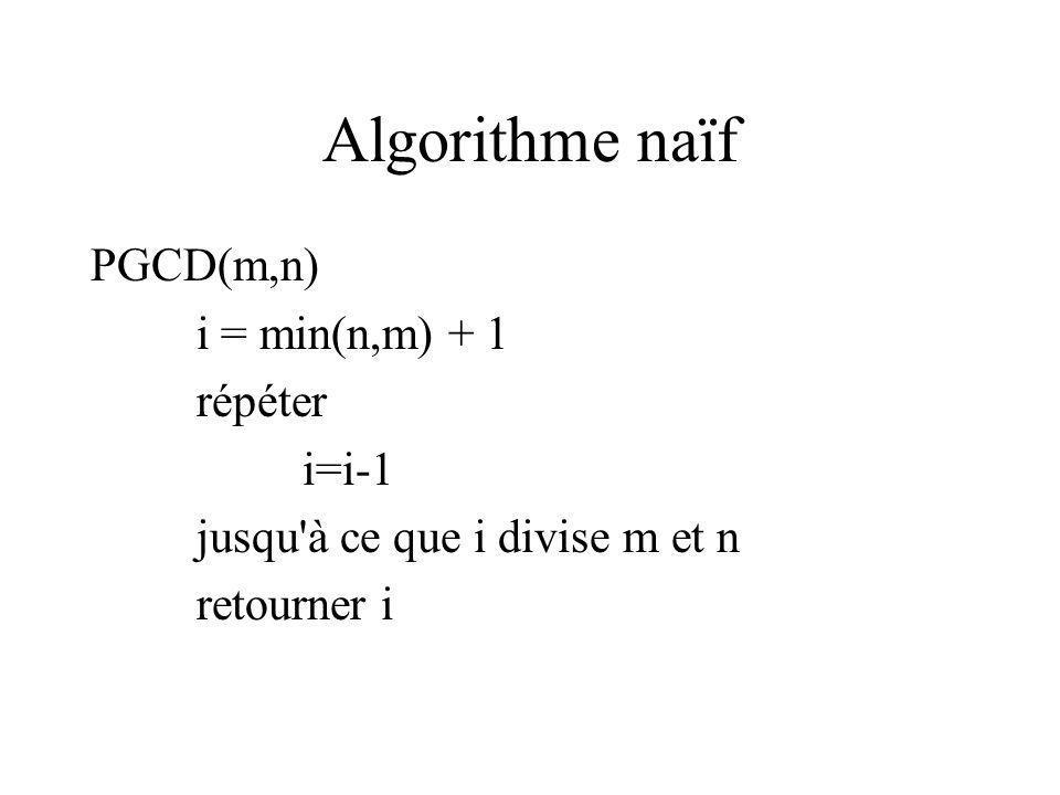 Algorithme naïf PGCD(m,n) i = min(n,m) + 1 répéter i=i-1 jusqu à ce que i divise m et n retourner i