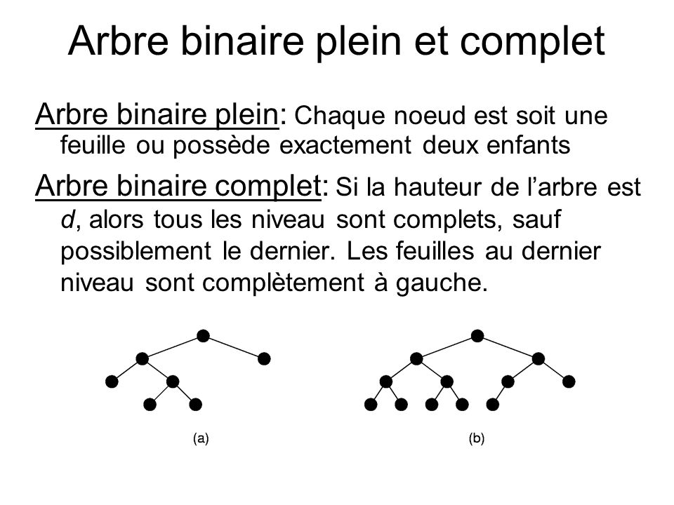 Arbre binaire plein et complet Arbre binaire plein: Chaque noeud est soit une feuille ou possède exactement deux enfants Arbre binaire complet: Si la
