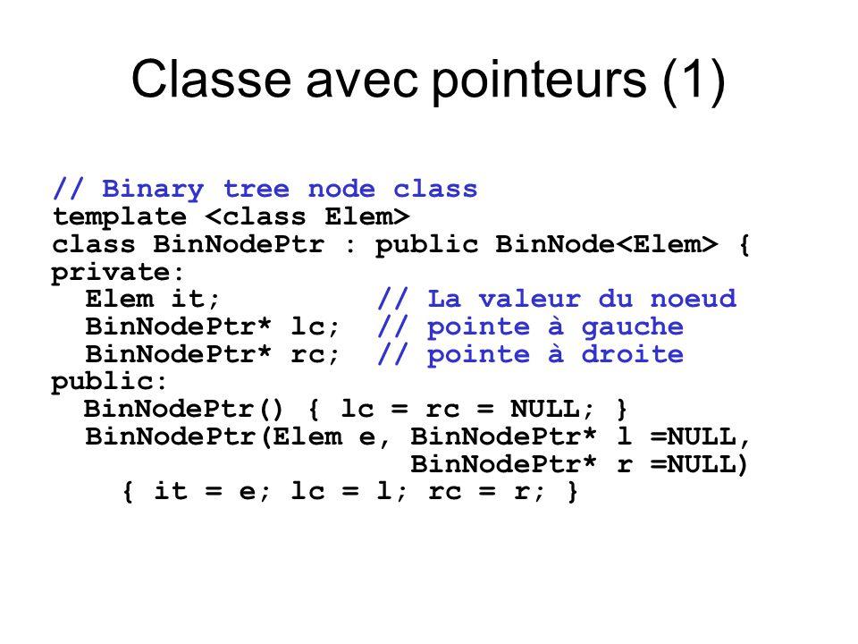 Classe avec pointeurs (1) // Binary tree node class template class BinNodePtr : public BinNode { private: Elem it; // La valeur du noeud BinNodePtr* l