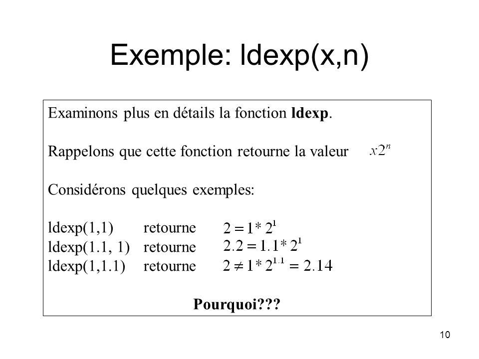 10 Examinons plus en détails la fonction ldexp. Rappelons que cette fonction retourne la valeur Considérons quelques exemples: ldexp(1,1) retourne lde