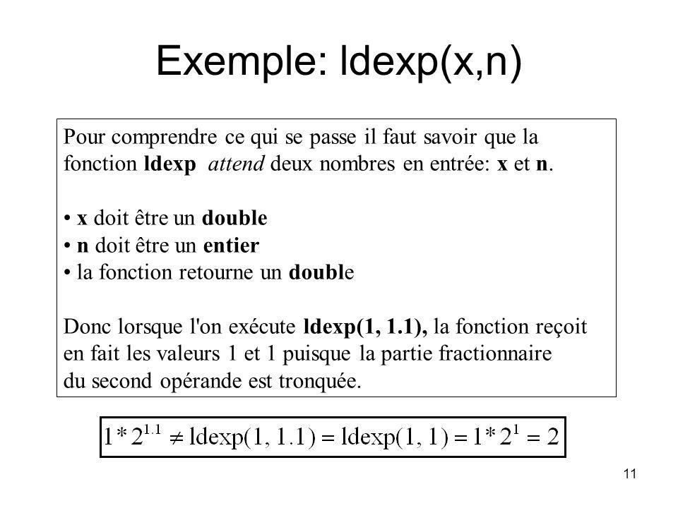 11 Exemple: ldexp(x,n) Pour comprendre ce qui se passe il faut savoir que la fonction ldexp attend deux nombres en entrée: x et n. x doit être un doub