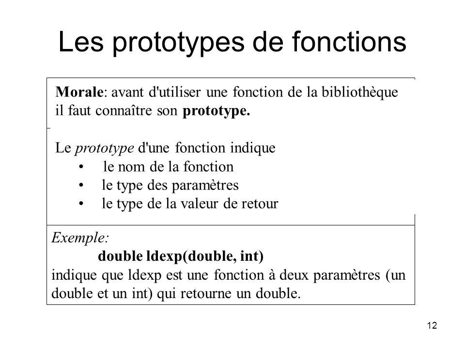 12 Morale: avant d'utiliser une fonction de la bibliothèque il faut connaître son prototype. Le prototype d'une fonction indique le nom de la fonction