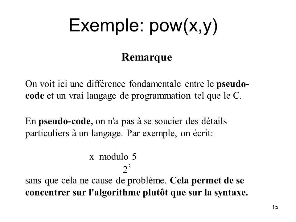 15 Remarque On voit ici une différence fondamentale entre le pseudo- code et un vrai langage de programmation tel que le C. En pseudo-code, on n'a pas
