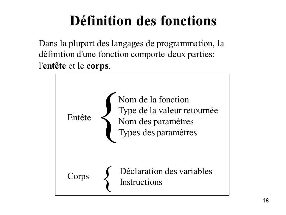 18 Définition des fonctions Dans la plupart des langages de programmation, la définition d'une fonction comporte deux parties: l'entête et le corps. E