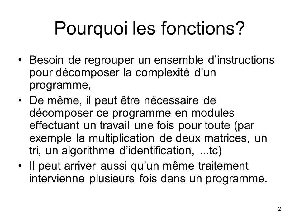 2 Pourquoi les fonctions? Besoin de regrouper un ensemble dinstructions pour décomposer la complexité dun programme, De même, il peut être nécessaire
