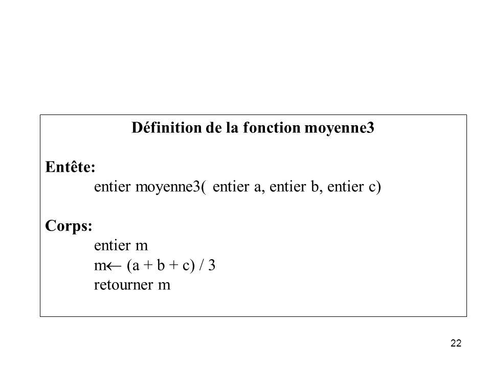 22 Définition de la fonction moyenne3 Entête: entier moyenne3( entier a, entier b, entier c) Corps: entier m m (a + b + c) / 3 retourner m