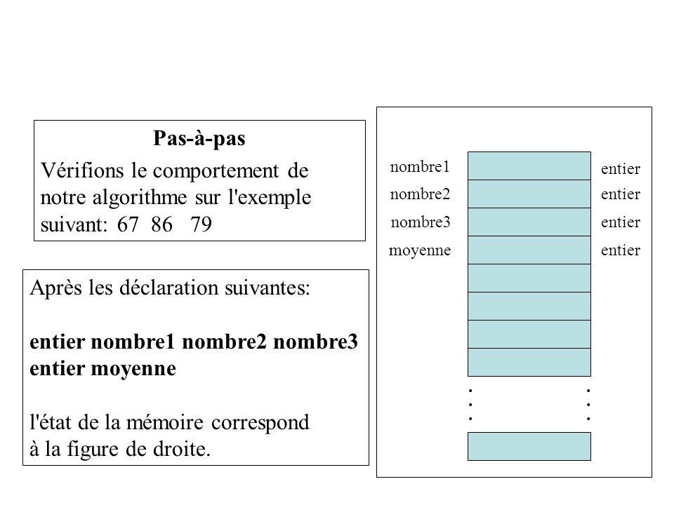 24 Pas-à-pas Vérifions le comportement de notre algorithme sur l'exemple suivant: 67 86 79 Après les déclaration suivantes: entier nombre1 nombre2 nom