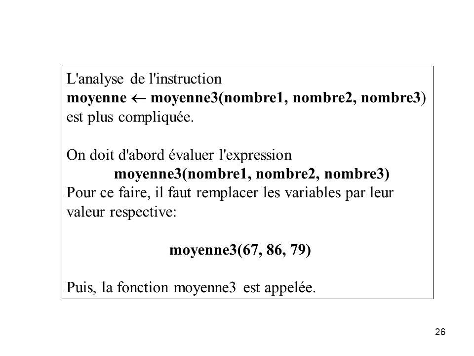 26 L'analyse de l'instruction moyenne moyenne3(nombre1, nombre2, nombre3) est plus compliquée. On doit d'abord évaluer l'expression moyenne3(nombre1,