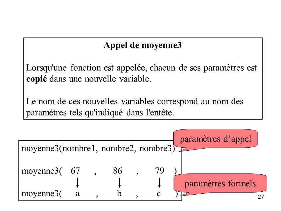 27 Appel de moyenne3 Lorsqu'une fonction est appelée, chacun de ses paramètres est copié dans une nouvelle variable. Le nom de ces nouvelles variables