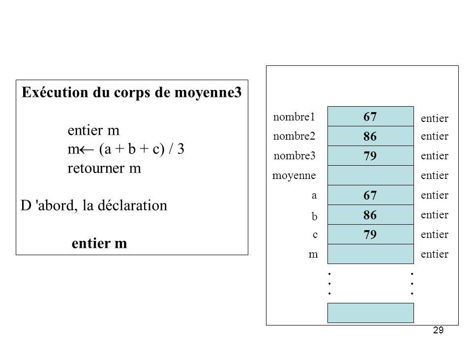29 86 67 79............ 67 nombre1 nombre2 nombre3 moyenne entier Exécution du corps de moyenne3 entier m m (a + b + c) / 3 retourner m D 'abord, la d